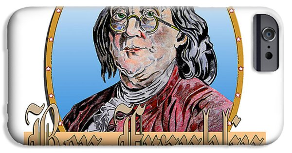 Franklin iPhone Cases - Ben Franklin iPhone Case by John Keaton