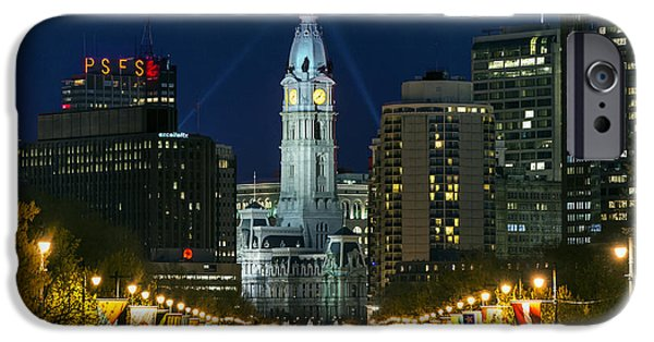 Franklin iPhone Cases - Ben Franklin Parkway and City Hall iPhone Case by John Greim