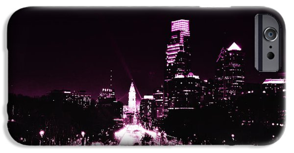 Ben Franklin iPhone Cases - Ben Franklin Parkway in Black and White iPhone Case by Bill Cannon