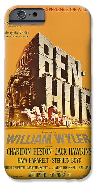 1950s Movies iPhone Cases - Ben Hur Movie Poster iPhone Case by Mountain Dreams