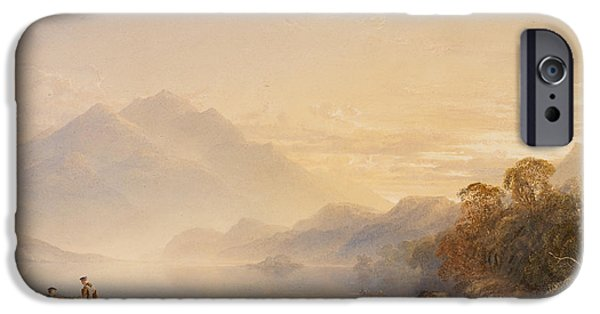 Ben iPhone Cases - Ben Venue and the Trossachs seen from Loch Achray iPhone Case by Anthony Vandyke Copley Fielding