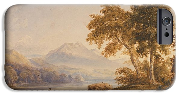 On Paper Paintings iPhone Cases - Ben Vorlich and Loch Lomond iPhone Case by Anthony Vandyke Copley Fielding