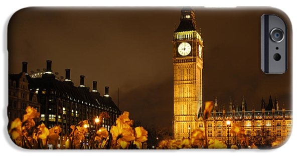Big Ben iPhone Cases - Ben with Flowers iPhone Case by Mike McGlothlen