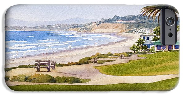 Pacific iPhone Cases - Bench at Powerhouse Beach Del Mar iPhone Case by Mary Helmreich