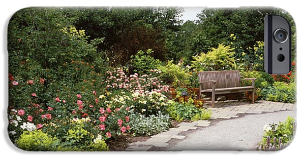 Botanical iPhone Cases - Bench In A Garden, Olbrich Botanical iPhone Case by Panoramic Images