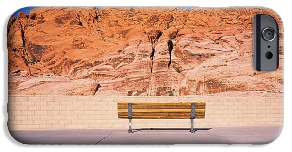 Red Rock iPhone Cases - Bench In Front Of Rocks, Red Rock iPhone Case by Panoramic Images