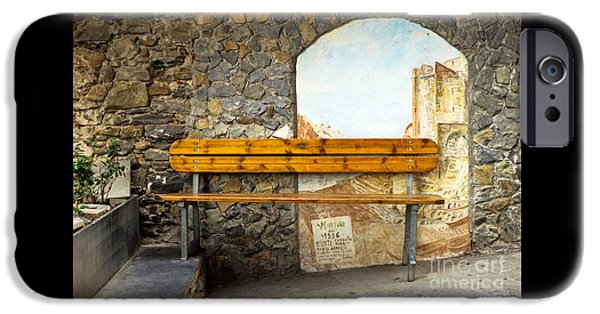 Charly iPhone Cases - Bench in Riomaggiore iPhone Case by Prints of Italy