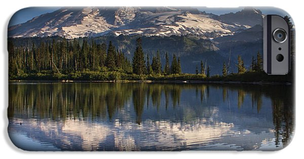 Park Benches iPhone Cases - Bench Lake Sunrise iPhone Case by Mark Kiver