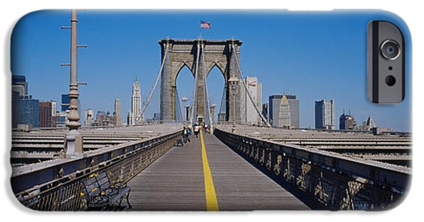 American Flag iPhone Cases - Bench On A Bridge, Brooklyn Bridge iPhone Case by Panoramic Images