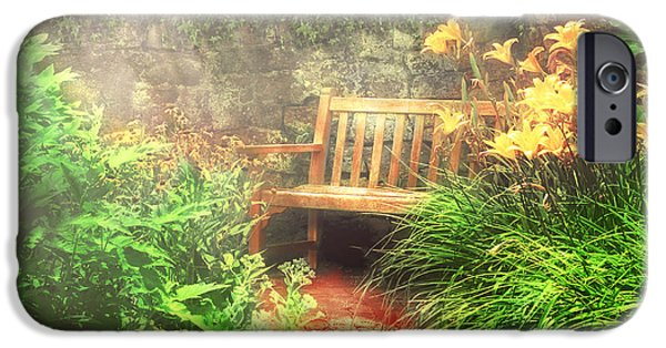 Gardening Photography iPhone Cases - Bench - Privacy  iPhone Case by Mike Savad