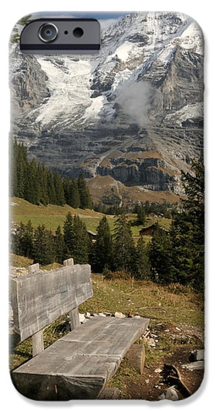 Mountain iPhone Cases - Bench With Mt Monch In The Background iPhone Case by Panoramic Images