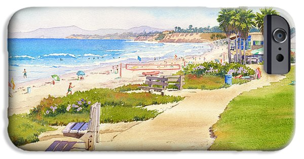 Mars iPhone Cases - Benches at Powerhouse Beach Del Mar iPhone Case by Mary Helmreich