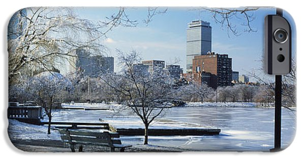 Boston Charles River iPhone Cases - Benches In A Park, Charles River Park iPhone Case by Panoramic Images