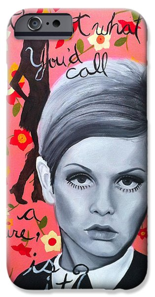 Twiggy Paintings iPhone Cases - Benchmark of Beauty III iPhone Case by Nique Arr