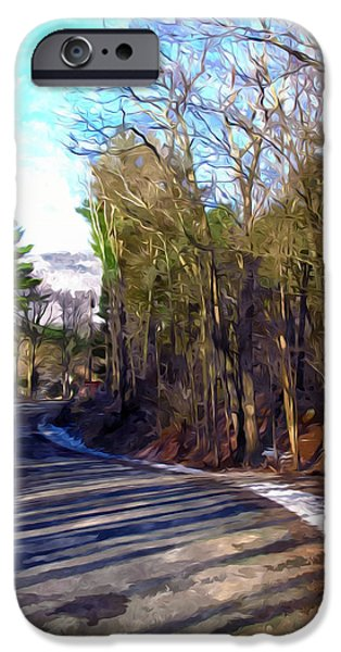 Asphalt Paintings iPhone Cases - Bend on a road in catskill ny iPhone Case by Lanjee Chee