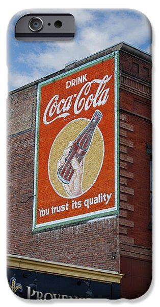 Decorative Digital Art iPhone Cases - Bend Oregon Coke Sign iPhone Case by Gary Grayson