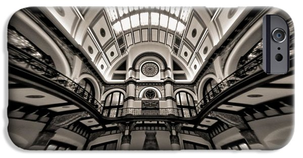 Buildings In Nashville iPhone Cases - Bending Time In Union Station iPhone Case by Dan Sproul