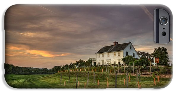 New England Village iPhone Cases - Beneath An Evening Sky iPhone Case by Evelina Kremsdorf