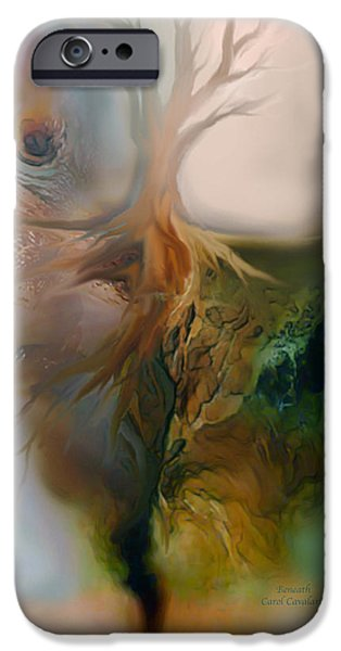 Tree Art Print Mixed Media iPhone Cases - Beneath iPhone Case by Carol Cavalaris