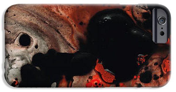 Red And Black iPhone Cases - Beneath The Fire - Red And Black Painting Art iPhone Case by Sharon Cummings