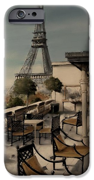Table Wine Mixed Media iPhone Cases - Beneath the Tower   Number 1 iPhone Case by Diane Strain