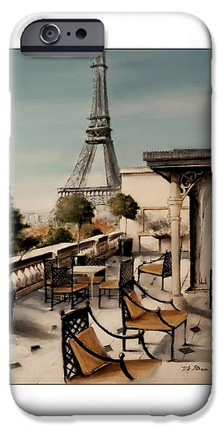 Table Wine Mixed Media iPhone Cases - Beneath the Tower   Number 10 iPhone Case by Diane Strain