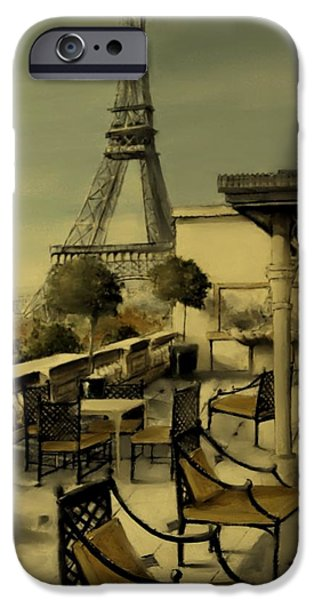 Table Wine Mixed Media iPhone Cases - Beneath the Tower   Number 2 iPhone Case by Diane Strain