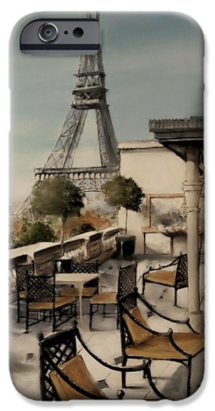 Table Wine Mixed Media iPhone Cases - Beneath the Tower  Number 3 iPhone Case by Diane Strain