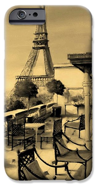 Table Wine Mixed Media iPhone Cases - Beneath the Tower   Number 6 iPhone Case by Diane Strain