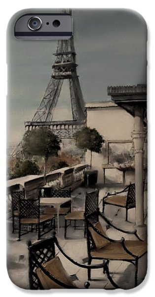 Table Wine Mixed Media iPhone Cases - Beneath the Tower   Number 7 iPhone Case by Diane Strain