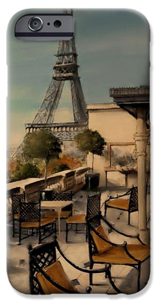 Table Wine Mixed Media iPhone Cases - Beneath the Tower   Number 8 iPhone Case by Diane Strain
