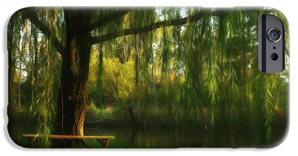 Willow Lake iPhone Cases - Beneath the Willow iPhone Case by Lori Deiter