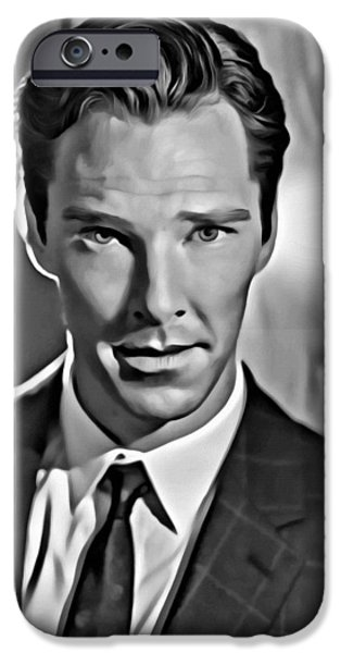 Benedict iPhone Cases - Benedict Cumberbatch Portrait iPhone Case by Florian Rodarte