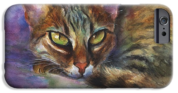 Color Drawings iPhone Cases - Bengal Cat watercolor art painting iPhone Case by Svetlana Novikova
