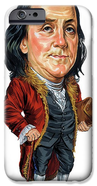 Franklin iPhone Cases - Benjamin Franklin iPhone Case by Art