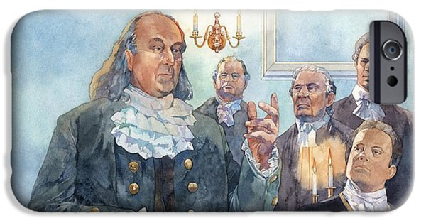 Politician iPhone Cases - Benjamin Franklin at Albany Congress iPhone Case by Matthew Frey