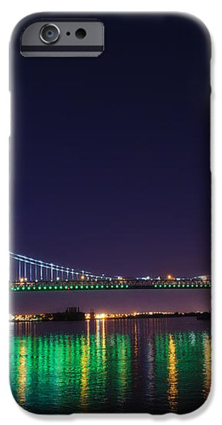 Benjamin Franklin Bridge at Night from Penn's Landing iPhone Case by Bill Cannon