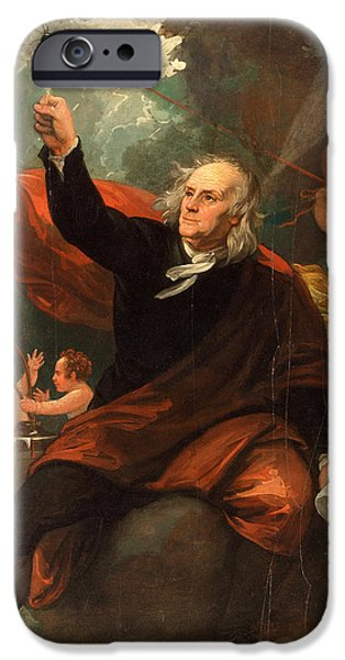 Franklin Paintings iPhone Cases - Benjamin Franklin Drawing Electricity from the Sky iPhone Case by Benjamin West