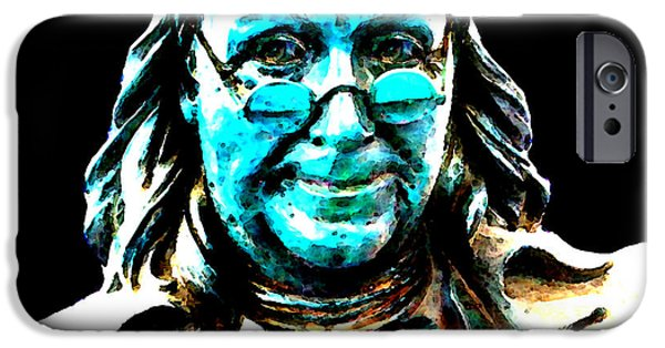 Constitution iPhone Cases - Benjamin Franklin - Historic Figure Pop Art By Sharon Cummings iPhone Case by Sharon Cummings