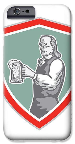 Benjamin Franklin Holding Beer Shield Retro iPhone Case by Aloysius Patrimonio