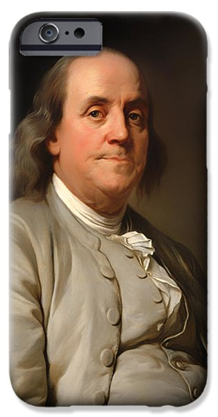 Franklin Paintings iPhone Cases - Benjamin Franklin iPhone Case by Joseph Duplessis