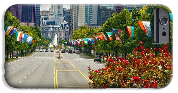 Franklin iPhone Cases - Benjamin Franklin Parkway  iPhone Case by Mitch Cat