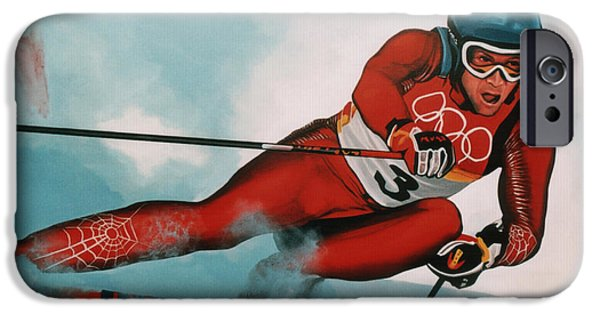 Olympics Paintings iPhone Cases - Benjamin Raich iPhone Case by Paul Meijering
