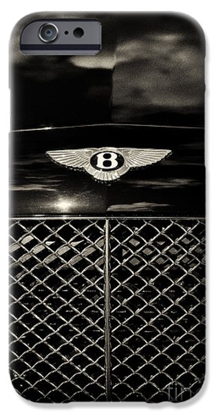 Car Mascots iPhone Cases - Bentley Continental GT Sepia iPhone Case by Tim Gainey