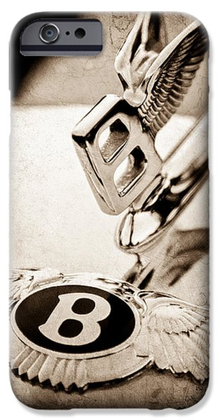 Antique Cars iPhone Cases - Bentley Hood Ornament - Emblem iPhone Case by Jill Reger