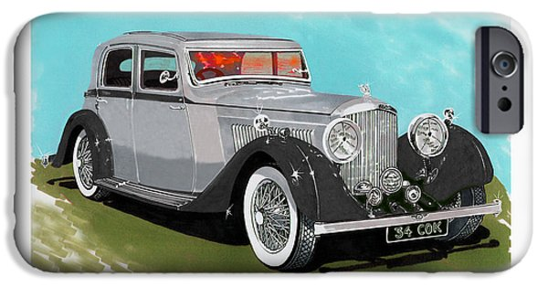 Component Paintings iPhone Cases - Bentley Sport Sedan 1934 iPhone Case by Jack Pumphrey