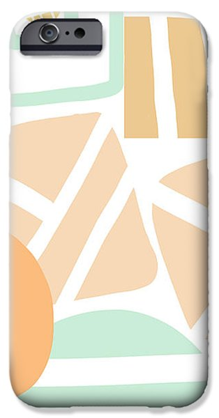 Modern Abstract Mixed Media iPhone Cases - Bento 3- abstract shapes art iPhone Case by Linda Woods