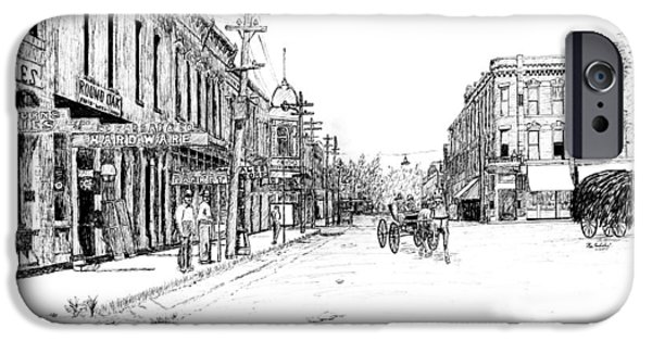 Arkansas Drawings iPhone Cases - Bentonville Square 1914 iPhone Case by Ron Enderland