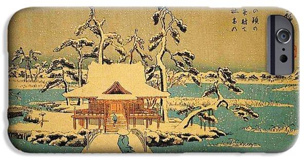 Hofner iPhone Cases - Benzaiten Shrine At Inokashira In Snow iPhone Case by MotionAge Designs