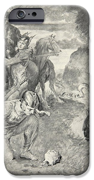Fable iPhone Cases - Beowulf finds the head of Aschere iPhone Case by John Henry Frederick Bacon